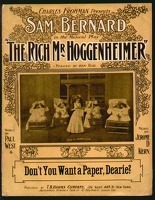 1906 Don't You Want A Paper Dearie from The Rich Mr Hoggenheimer Sam Bernard Paul West Jerome D Kern